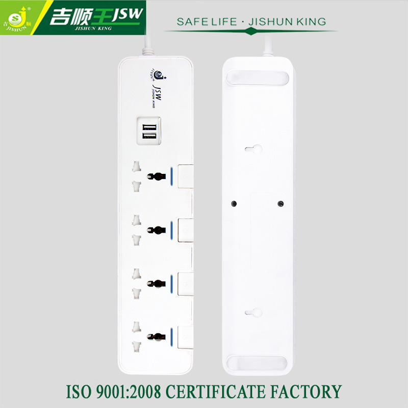 New Design 4 Way Universal Power Socket with Dual USB Ports 250V 13A Electrical Plugs Socket Extension for EU/US/UK/AU plug(China (Mainland))