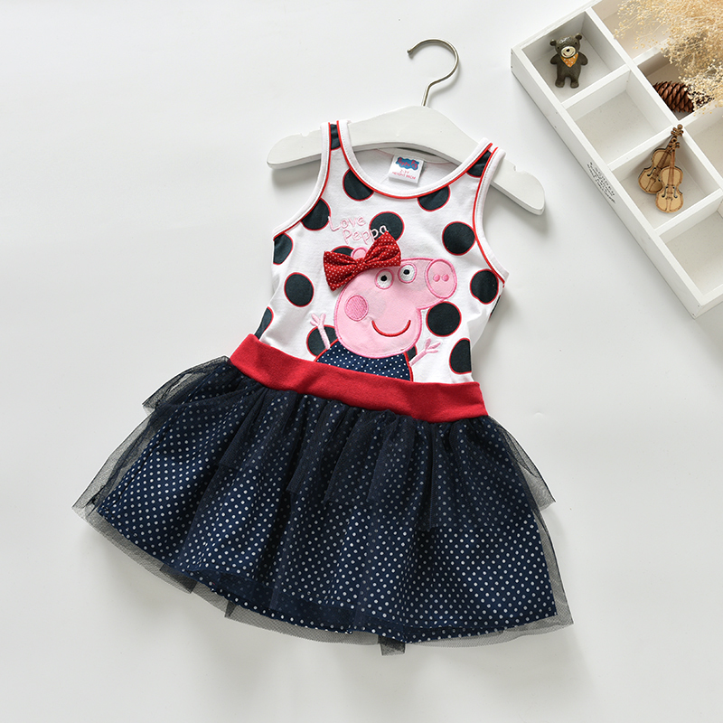 Girls Dress Peppa Pig Clothing Clothes Pink Ball Gown Summer Dress Sleeveless Minnie Mouse Children Clothing Fancy Girl Dresses(China (Mainland))
