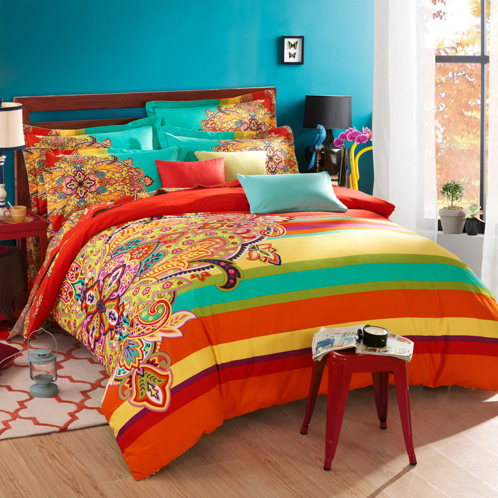 Twin full queen size 100 cotton bohemian boho style - Blue and orange bedding sets ...