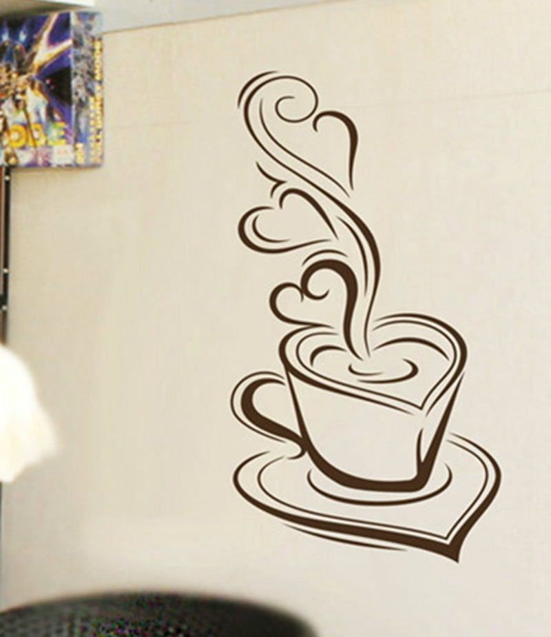 Delicious coffee Exudes the aroma kitchen decor vinyl wall stickers,Bakery cafe shop decorative wall stickers free shipping