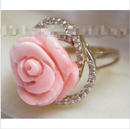 Здесь можно купить  Free shipping >>>>>>carved rose Free Form pink coral Rings 14KT Solid gold  Ювелирные изделия и часы