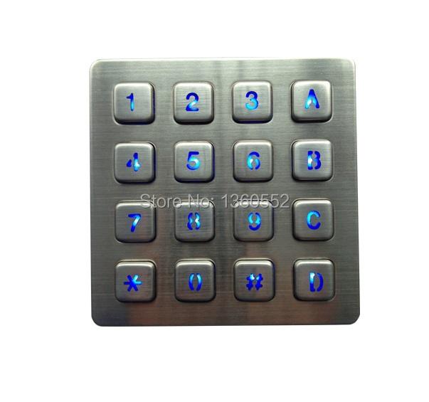 16 keys usb backlit keypad Led backlit keyboard with illuminated 4x4 key button for payphone,kiosk, bank,vending machine(China (Mainland))