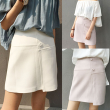 The 2016 women's fashion design all-match irregular high waisted skirt bag hip skirt A-line A summer Q886