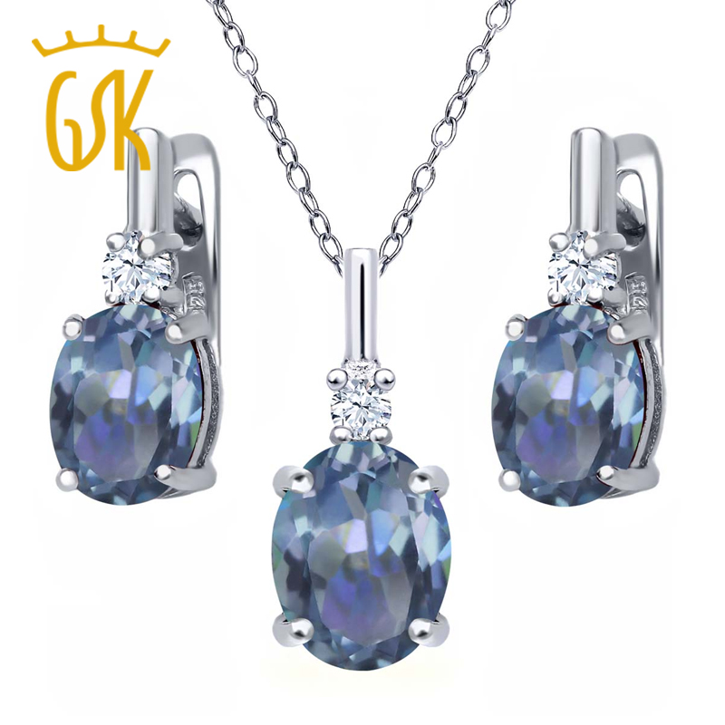 6.98 Ct Cassiopeia Mystic Topaz White Topaz 925 Silver Pendant Earrings Set<br><br>Aliexpress