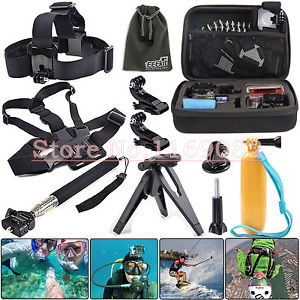 10 In1 Gopro Bag Case +Chest Head Strap J-Hook Tripod Mount+ Monopod Folding