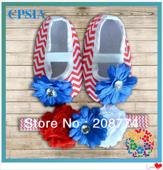 Patriotic baby crib shoes with match headband independence day element baby shoes July 4th crib baby shoes 24pairs/lot