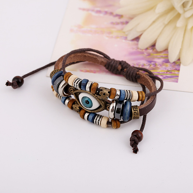 JC Male Pulceras Mujer Hombre Female Handmade Leather Hamsa Fatima Bracelet Men Genuine Leather Evil Eye