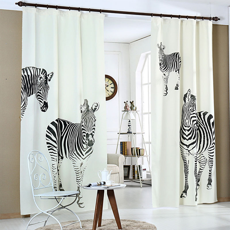 Simple style 3D printing curtain zebra pattern curtain for home decoration finished products curtain tulle WP075 #15(China (Mainland))