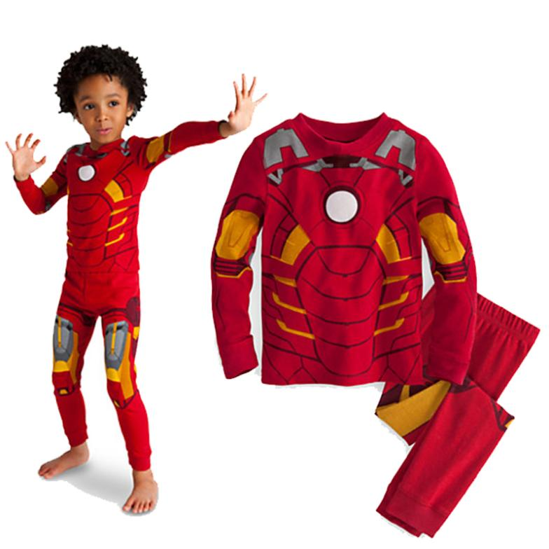 hot !2015 cartoon Iron Man cosplay costume pajamas long sleeve children pajama sets,toddler baby kids cotton pijama sleepwear(China (Mainland))