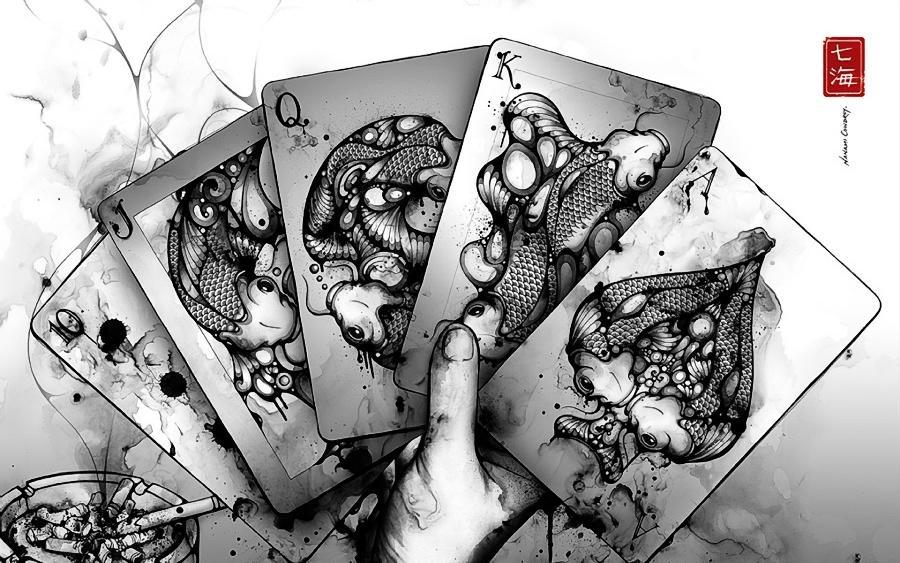 Living room bedroom <font><b>home</b></font> wall <font><b>decoration</b></font> fabric poster <font><b>asian</b></font> oriental cards fantasy drawing art koi creature cigarettes poker