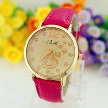 Nueva moda Relojes Mujer mujeres Relojes de cuarzo cuero jóvenes deportes del reloj dorado de vestir casuales Relojes de pulsera relogios feminino