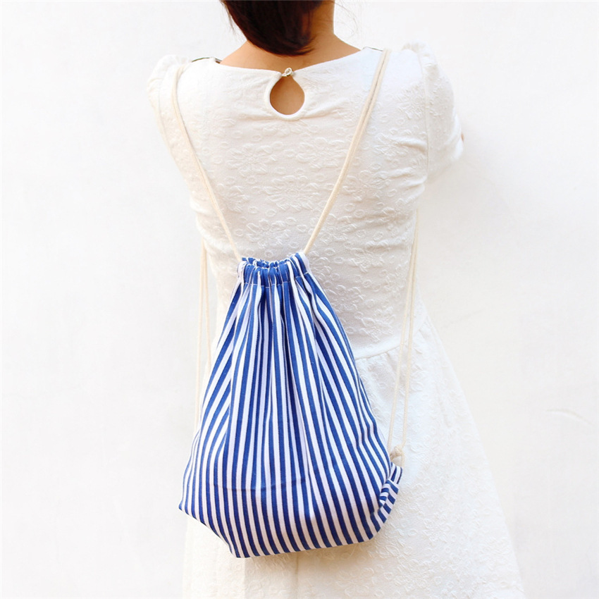 Navy Striped pull rope back bundle mouth female backpack casual direct double shoulder bag Eco Reusable Shopping travelling bag(China (Mainland))