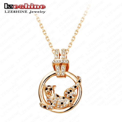 LZeshine Animal Necklace Alloy Pendant Necklaces Unique 18K Gold Plated Austrian Crystals Leopard Fashion Jewelry NL0036-C(China (Mainland))