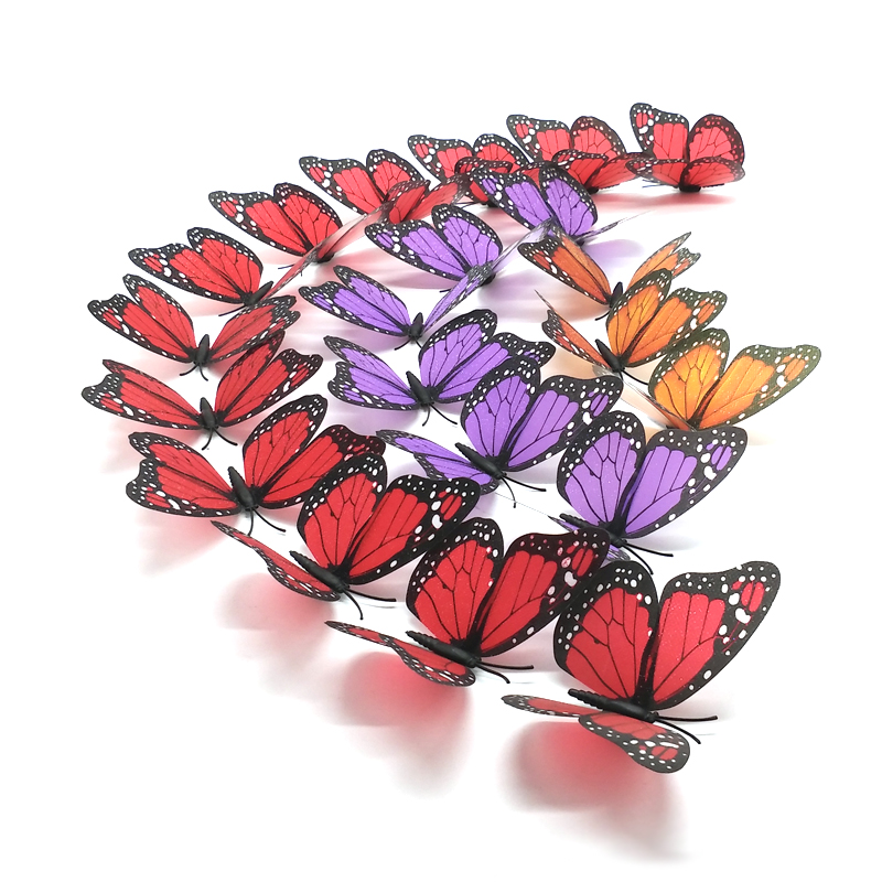 Sparkling 3D Monarch Butterfly Wall Stickers Home Decor With Magnet,For Living room,Bedroom,Kids Rooms,Party Wedding Decoration(China (Mainland))