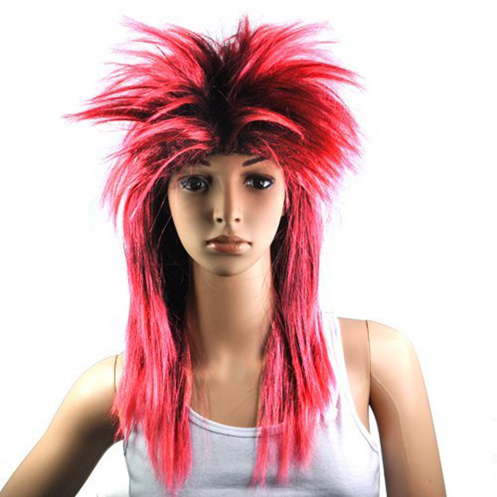 USA Delivery Red Black Ladies Glam Punk Rocker Chick TIna Turner Carnival Wig Fancy Dress Costume(China (Mainland))