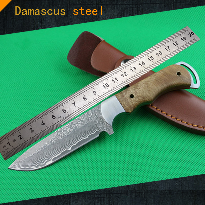 1WA High quality, pure handmade Forged Damascus Hunting Knife Steel head + Burl woodhandle(China (Mainland))