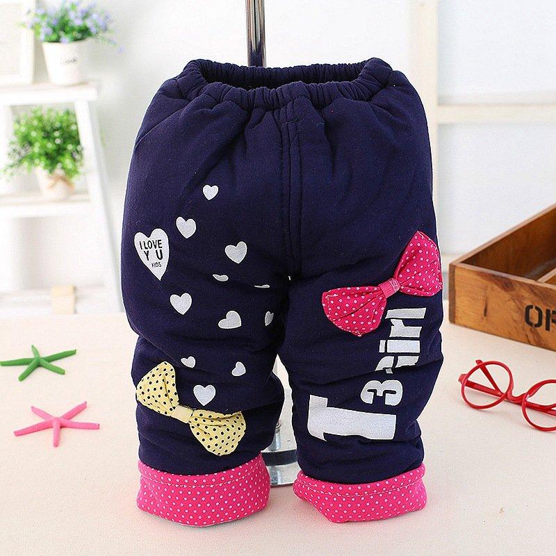 Осень теплая зима дети девочки свободного покроя полная длина сгущает брюки с бантом письмо детской одежды хлопок длинные брюки s2094