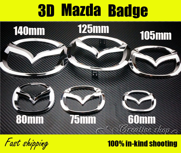 Free SHIPPING Chrome Color MazDa Steering Wheel Emblem 3D MazDa Logo Badge Decal For MazDa 3 6 Head & Tail MazDa mark Sticker(China (Mainland))
