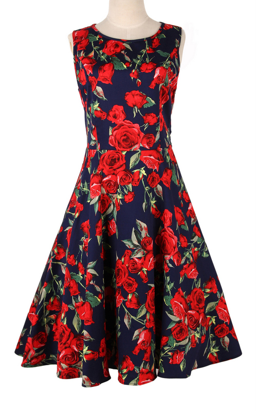 dress retro inspired uk dress floral novelty