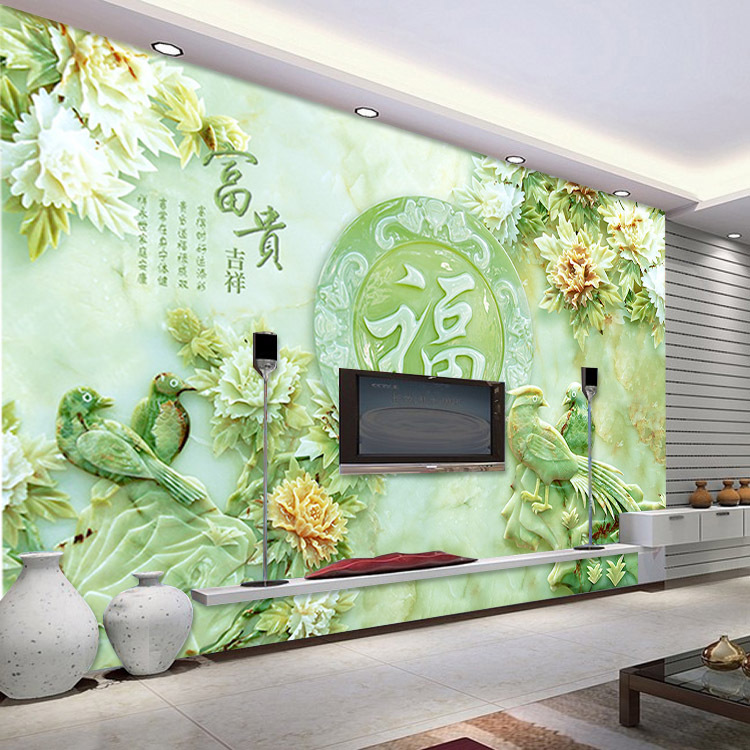 3D Jade carving wallpaper Unique Design Wall Mural flower