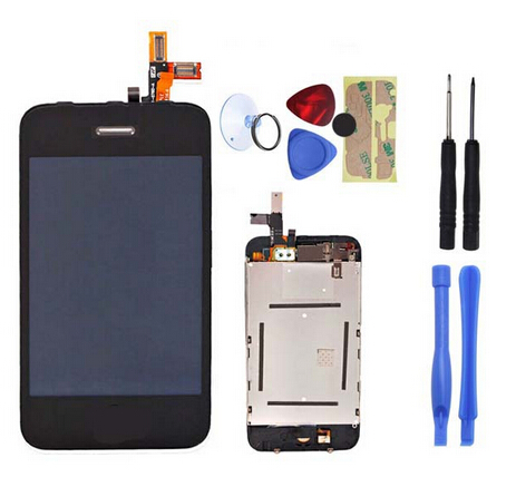 Brand New for iPhone 3GS Touch screen Digitizer&LCD Display Assembly replacement With 8pcs Tools Black Color Free Shipping(China (Mainland))