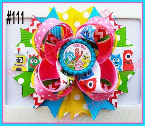 "free shipping 50pcs 4.5"" Inspired Boutique Layered Hair Bow birthday hair bows girl hair clips-B(China (Mainland))"