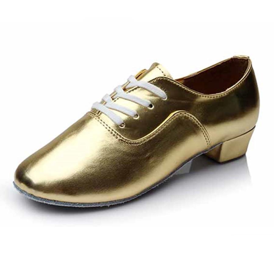 golden pu shoes for boy ballroom salsa