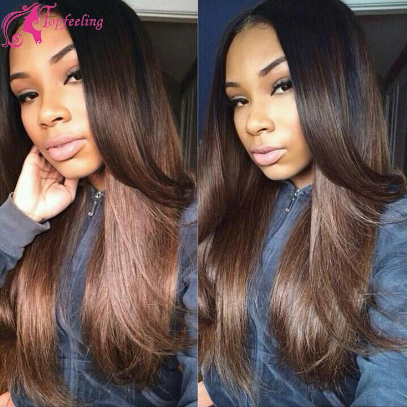 Здесь можно купить  100% Unprocessed Brazilian Virgin Human hair ombre Glueless Silk Top Full Lace Wigs With Baby Hair silk straight For Black Women  Волосы и аксессуары