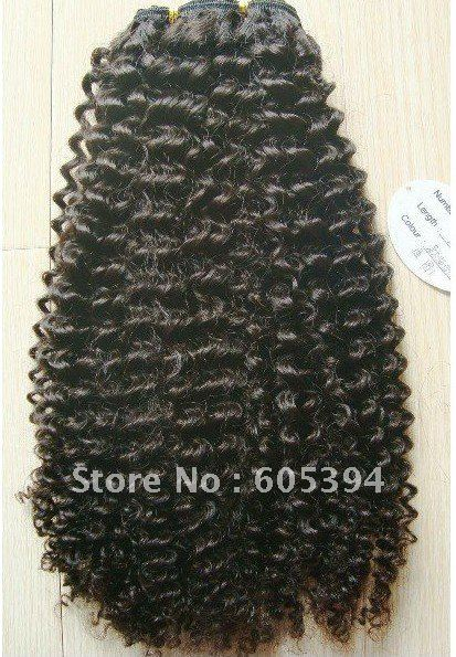 Curl wave / Chinese  Human Hair machine  made Weft  /; Natural Color/high quality   100g/piece 18 inch<br><br>Aliexpress