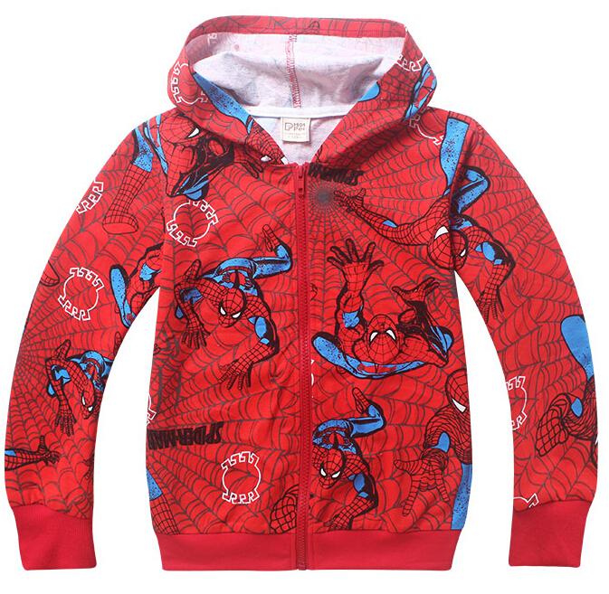 2015 Kids cartoon printing zipper hoodie coat boys superhero spiderman long sleeve cotton hoodies super hero clothing free(China (Mainland))