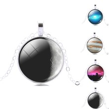 Fahion Star Universe Cabochon Galaxy Necklace & Pendant Chain Necklace Hot Slae Jewelry Women Men Drop  Shipping