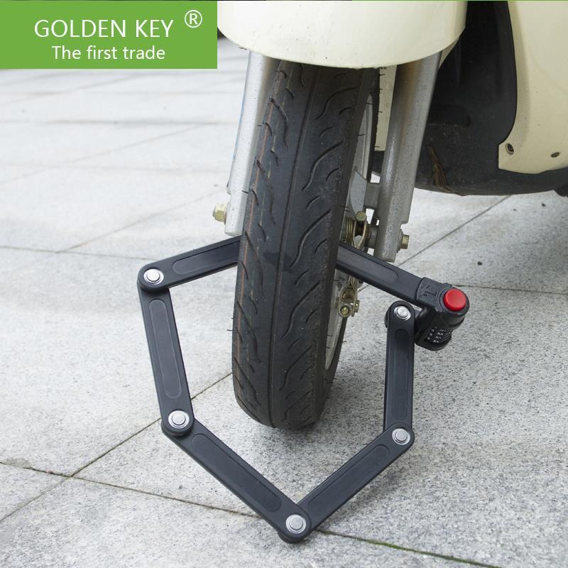 Gold folding hydraulic shear bicycle lock mountain bike electric motorcycle anti-theft lock(China (Mainland))
