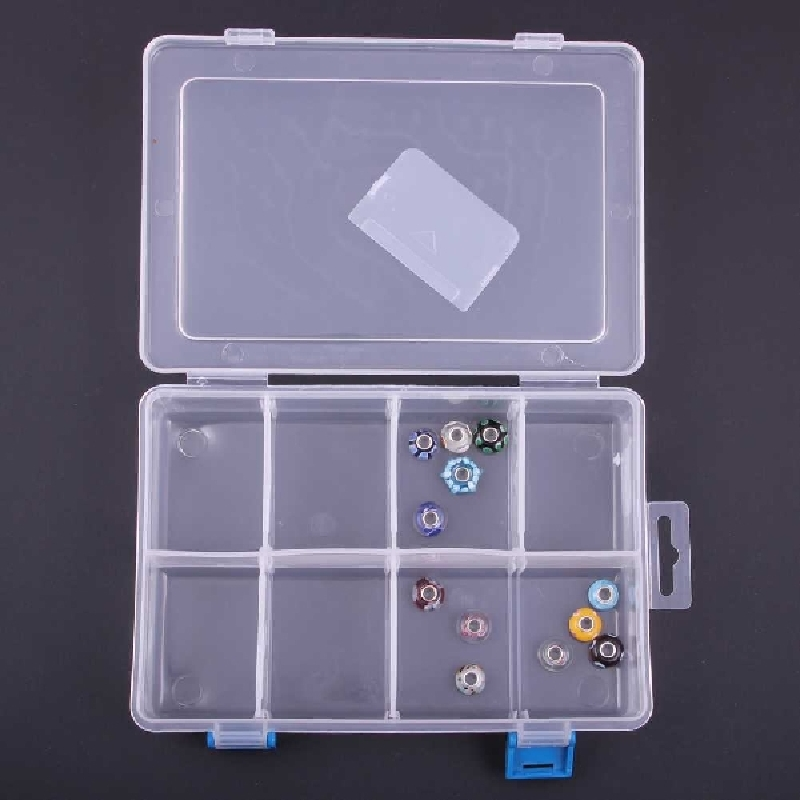 drop shipping transparent package high quality plastic storage plastic container box jewelry case 8 girds in online adjustable(China (Mainland))