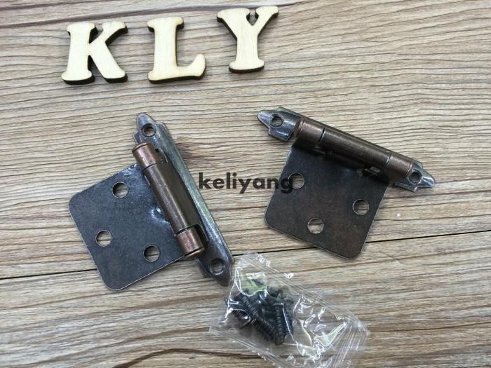 Self-Closing Overlay Hinge,cabinet hinge,furniture door hinge hardware fitting Antique Copper 4 pcs(China (Mainland))