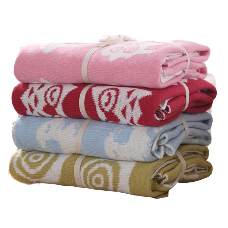 Cotton Elegant Sweaterknit Blanket Soft Newborn Baby Knitted Blanket for Stroller Crib Infant Bedding For Boy Girl 90*110cm(China (Mainland))