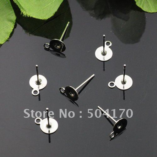 6*12mm Silver Plated Cameos Earring Setting Shiny Earring Studs 1000pcs/lot Wholesale LQJ201<br><br>Aliexpress