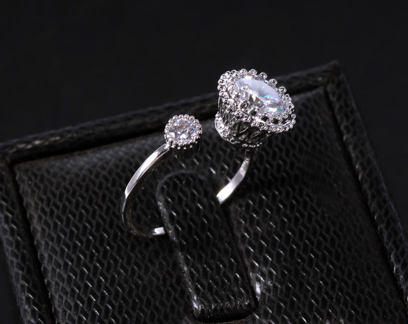 LUFANG Fashion Adjustable Ring Couple Napkin Wedding Rings Crystal 2017 Bohemian Flower Smart Cute Rings For Women Brand Jewelry