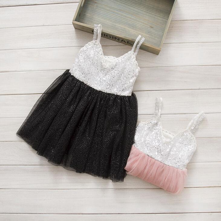 New Baby Girls Sequined Sparkle Mesh Tutu Sling Dresses Pink Black, Princess Sweet Party Dance Clothing 5 pcs/lot, Wholesale(China (Mainland))