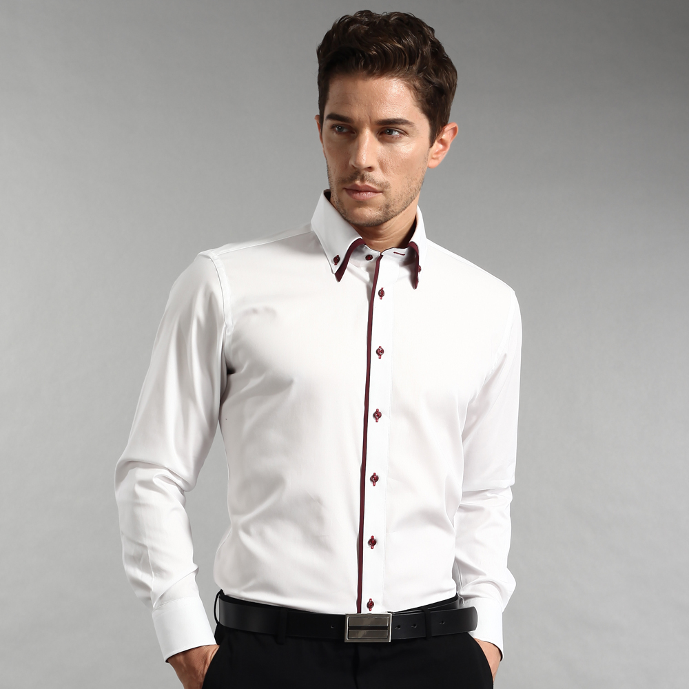 Spring 100 Cotton Long Sleeve White Shirts Slim Fit