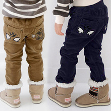 2015 autumn and winter wings boys clothing child plus velvet thickening corduroy trousers kz-1265(China (Mainland))