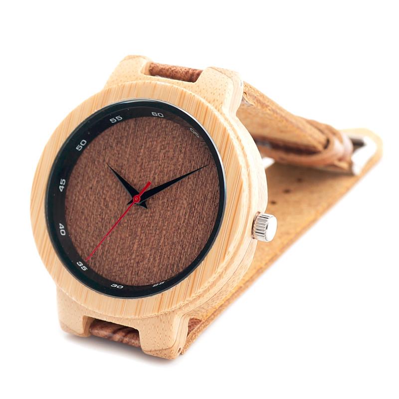 БОБО ПТИЦА Деревянные Часы мужские Ручной Бамбука Часы Натуральная Кожа Наручные Часы Повседневная Часы Подарки Для Друга D16
