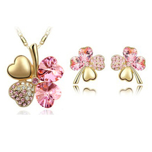 Best-selling fashion women's jewelry set /Sreling silver jewelry crystal necklace + earrings,/Lucky Clover -A14B14(China (Mainland))