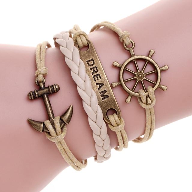 Мода кожаный браслет якорь браслет для сна homme pulseira couro любовь браслеты для ...