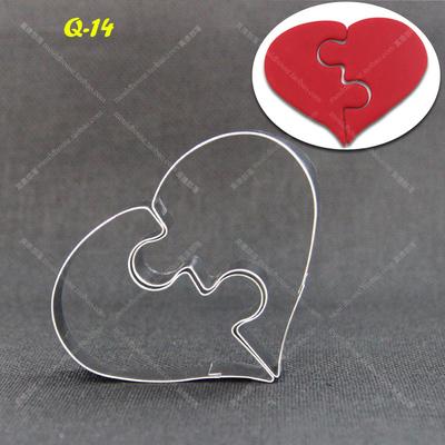 DIY Forma de Coração Amoroso de Alumínio Biscuit Molde Bakeware Molde Do Bolo Do Metal Ofício Açúcar Pastelaria Cortadores de Biscoito 3D PC036(China (Mainland))