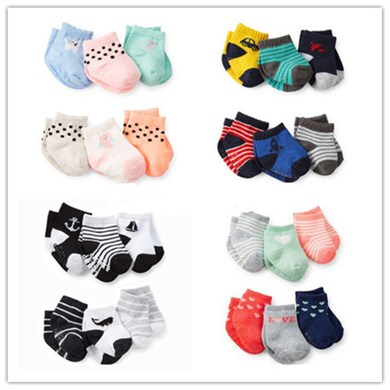 3Pair/Lot CARTERS BABY BOY GIRL SOCKS For Newborns Children's Socks Calcetines12-24M Cotton Baby Slippers Baby's Bootees Meias(China (Mainland))