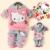 1 Set 2015 Retail children clothing sets, hello kitty girl clothing set, hoodie+pant, velvet, for autumn/spring, Free shipping