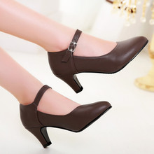 Women Shoes Pumps Spring Pointed Toe Mary Jane Office High Heels Plain Comfort Ladies Red Brown Size 34-39 HB-05 - Tina Co.,Ltd store