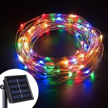 LED String Lights 10M 100 LEDs Solar Powered Copper Wire Fairy Lights for Decorating,Garden,Patio,Wedding,Holiday Decorations(China (Mainland))
