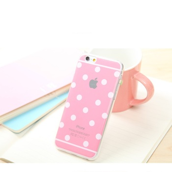 Etui plecki do iPhone 4 4S 5 5s 6 6s 6 Plus 6S Plus pudrowe kropki