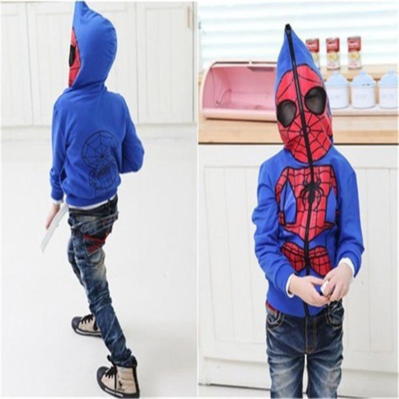 4T~15age boy outwear Spider-Man Spring 2015 new cartoon baby long sleeve hooded zipper jacket Kids(China (Mainland))